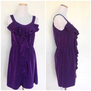 Elle Purple Swiss dot Boho Bohemian Ruffle Dress